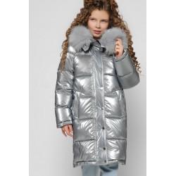 Зимова лакова куртка для дівчинки