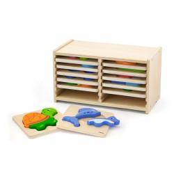 Набор деревянных мини-пазлов со стойкой для хранения, 12 шт.