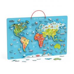 Пазл магнитный Карта мира с маркерной доской, на английском