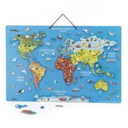 Пазл магнитный Карта мира с маркерной доской, на украинском языке