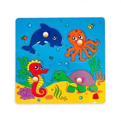 Деревянная рамка-вкладыш Viga Toys Морские обитатели (59564)