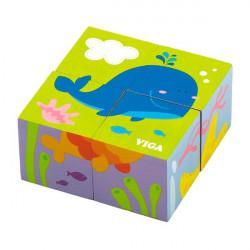 Деревянные кубики-пазл Подводный мир