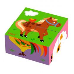 Деревянные кубики-пазл Фермерские зверята