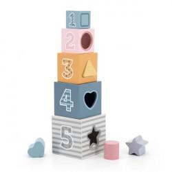 Дерев'яні кубики-пірамідка PolarB Сортуємо і складаємо