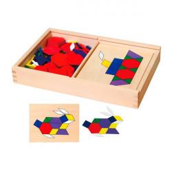 Геометрическая мозаика деревянная с шаблонами