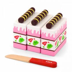 Игрушечные продукты Деревянный клубничный торт