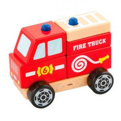 Деревянная пирамидка Пожарная машинка
