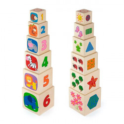 Дерев'яні кубики-пірамідка з цифрами