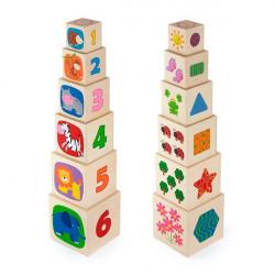 Деревянные кубики-пирамидка с цифрами