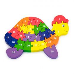 Деревянный пазл Черепаха по буквам и числам