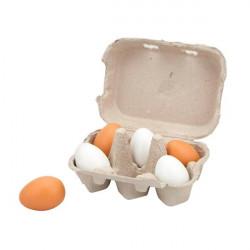 Игрушечные продукты Деревянные яйца в лотке, 6 шт.