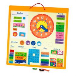 Магнітний календар з годинником, англійською мовою